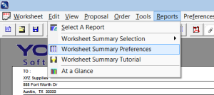 worsheet summary preferences