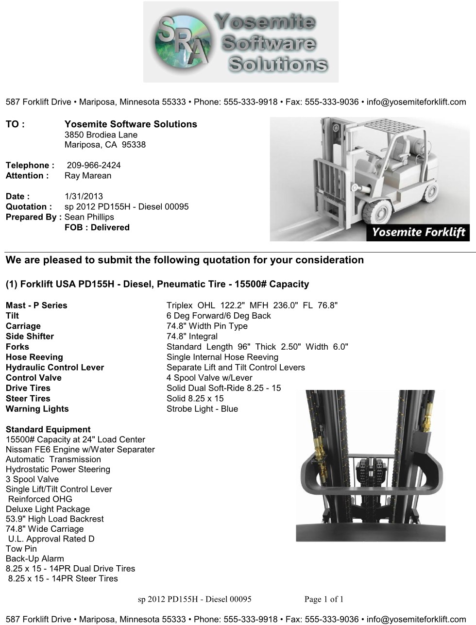 sra forklift proposal templates yosemite software s rep s yssquote