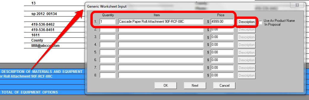 Generic Worksheet Input